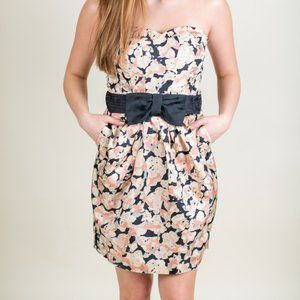 H&M Black Floral Fitted Dress with Pockets